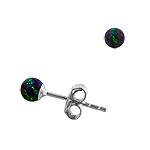 Sterling Silver and Created Opal Blue-Green 3mm Bead Stud Earrings