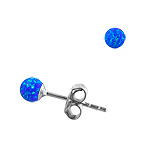 Sterling Silver and Created Opal Blue 3mm Bead Stud Earrings