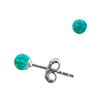 Sterling Silver and Created Opal Green 3mm Bead Stud Earrings