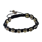 8mm Smokey Quartz Beads and Black String 13 Bead Shamballa Bracelet