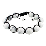 12mm White Turquiose Beads and Brown String 12 Bead Shamballa Bracelet