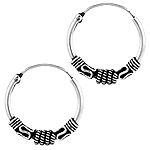 Sterling Silver 19mm Ribbed Coil, Rope, and Wave Bali Style Hollow Tube Hoop Earrings