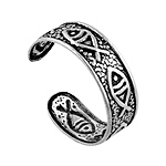 Sterling Silver  Fish Pattern Band Toe Ring