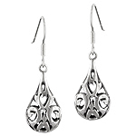 Sterling Silver Filigree Short Drop Dangle Earrings