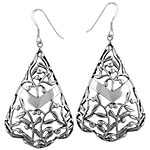 Sterling Silver Buds and Leaves Triangle Dangle Earrings