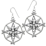 Sterling Siver Floral Design Wind Rose Dangle Earrings