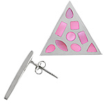 Sterling Silver Triangle Stud Earrings with Pink Mother of Pearl Dots