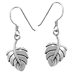 Sterling Silver Leaf Dangle Earrings