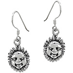 Sterling Silver Sun Face Dangle Earrings