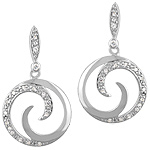 Sterling Silver Solid and Pave Cubic Zirconia Round Swirl Stud Earrings