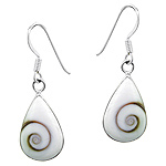 Sterling Silver Small Drop Dangle Earrings with Eye of Shiva Shell Inlay