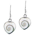 Sterling Silver Small Heart Dangle Earrings with Eye of Shiva Shell Inlay