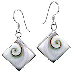 Sterling Silver Diamond-Shaped Dangle Earrings with Eye of Shiva Shell