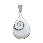 Sterling Silver Teardrop Pendant with Eye of Shiva Shell