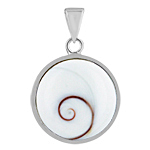 Sterling Silver Round Pendant with Eye of Shiva Shell
