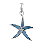 Sterling Silver Star Fish Pendant With Blue Mother of Pearl Inlay