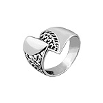Sterling Silver Divided Heart Ring with Filigree Swirl Details