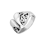 Sterling Silver Creeping Vine and Teardrop Free Size Ring