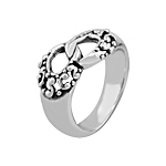 Sterling Silver Interlocking Ovals Ring with Twist Accents