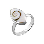 Pointed Oval Sterling Silver Ring with Eye of Shiva Shell Inlay