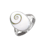 Oval Pill Style Sterling Silver Ring with Eye of Shiva Shell Inlay