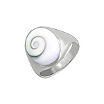 Sterling Silver Ring with Oval Eye of Shiva Shell Inlay
