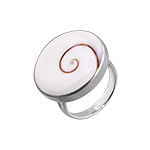 Round Pill Style Sterling Silver Ring with Eye of Shiva Shell Inlay