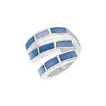 Sterling Silver S-Shaped Ring with Blue Mother of Pearl