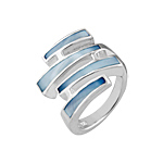 Sterling Silver Four Lines Ring with Blue Mother of Pearl
