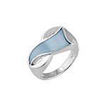 "Sterling Silver ""8"" Ring with Blue Mother of Pearl"
