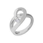 "Sterling Silver High Polish and Matte Finish ""Pretzel"" Ring with White CZ"