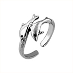 Sterling Silver Two Dolphins Toe Ring