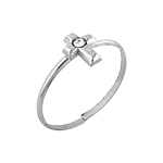 Sterling Silver Cross Toe Ring with White CZ