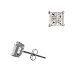 Sterling Silver 5mm Invisible Cut Square Cubic Zirconia Stud Earrings