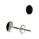 Sterling Silver 5x7mm Oval Stud Earrings with Black Onyx