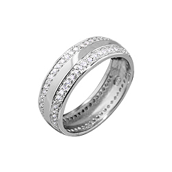 Sterling Silver Men's 7mm Wedding Band with Pave CZ Edges