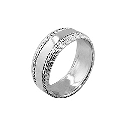 Sterling Silver Men's 8mm Wedding Band with Rope Pattern Edges