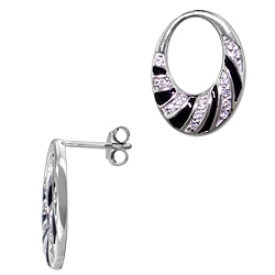 Sterling Silver Rhodium Plated Open Oval Stud Earrings with Black Enamel and White CZ