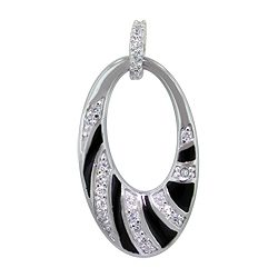 Sterling Silver Rhodium Plated Open Oval Pendant with Black Enamel and White CZ