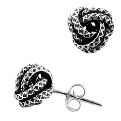 Sterling Silver Criss-Cross Pattern Knot Stud Earrings