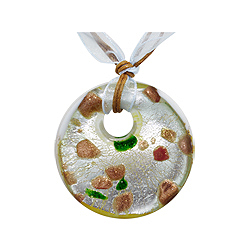 "Silver and Gold Murano Glass Round Pendant on 18"" White Gauze Ribbon and Brown Cord"