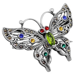 Sterling Silver Butterfly Brooch with Marcasite and CZ Stones