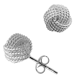 Designer Inspired Sterling Silver Rope Knot Stud Earrings