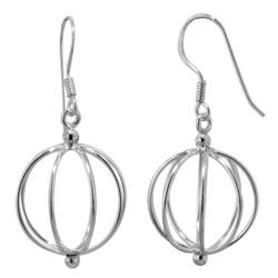 Sterling Silver Wire Beach Ball Dangle Earrings