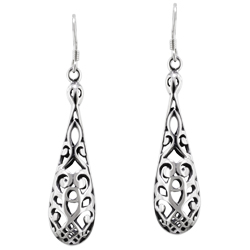 Sterling Silver Filigree Checked Drop Dangle Earrings