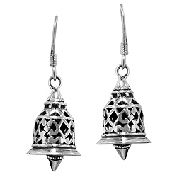 Sterling Silver Filigree Bell Dangle Earrings