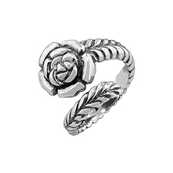 Sterling Silver Rose Flower on Curved Stem Free Size  Ring