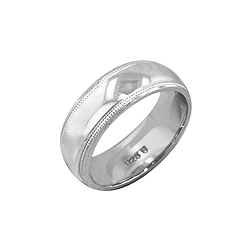 Sterling Silver Design on Edge 6mm Band