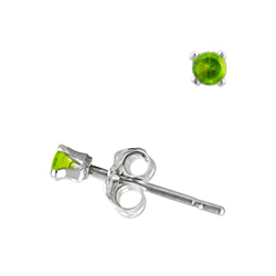 Sterling Silver 2mm Round Stud Earrings with Peridot CZ