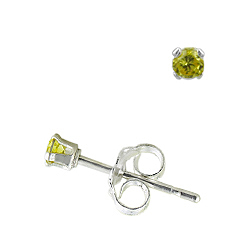 Sterling Silver 2mm Round Stud Earrings with Yellow CZ